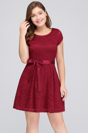 Plus Size A-Line Jewel Burgundy Lace Bridesmaid dress with Short Sleeves_2