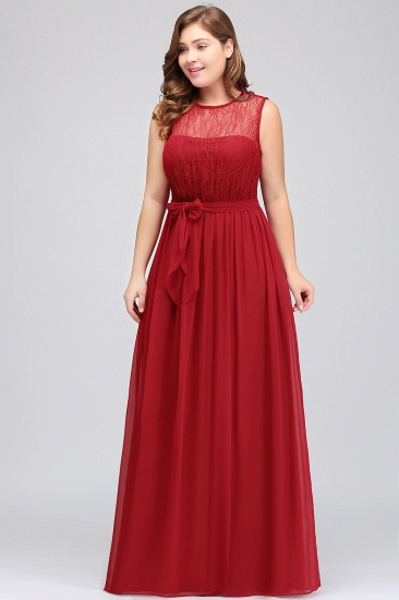 Plus Size Jewel Sleeveless Red Lace Long Bridesmaid Dress with Ruffle_6