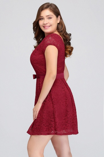 BMbridal Plus Size A-Line Jewel Burgundy Lace Bridesmaid dress with Short Sleeves_9