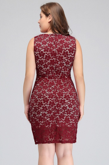 BMbridal Bodycon Round Neck Short Lace Burgundy Homecoming Dress_3