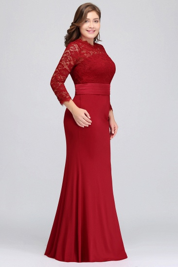 Plus Size Mermaid Long Red Lace Bridesmaid Dresses with 3/4 Sleeves_9