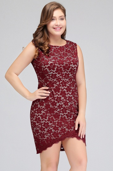 BMbridal Bodycon Round Neck Short Lace Burgundy Homecoming Dress_5