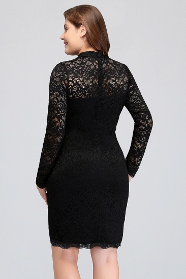 Plus Size Mermaid High-Neck Lace Short Bridesmaid Dress with Long Sleeves_3