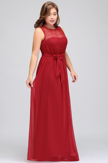 Plus Size Jewel Sleeveless Red Lace Long Bridesmaid Dress with Ruffle_7