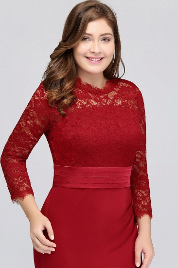 Plus Size Mermaid Long Red Lace Bridesmaid Dresses with 3/4 Sleeves_7