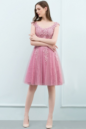 BMbridal Lovely Dusty Pink Short Homecoming Dress With Lace Appliques_14