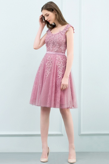 BMbridal Lovely Dusty Pink Short Homecoming Dress With Lace Appliques_10