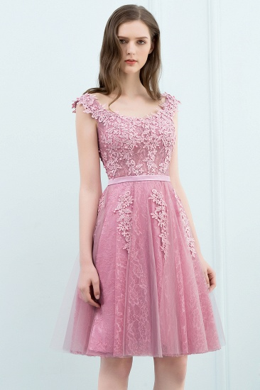 BMbridal Lovely Dusty Pink Short Homecoming Dress With Lace Appliques_13