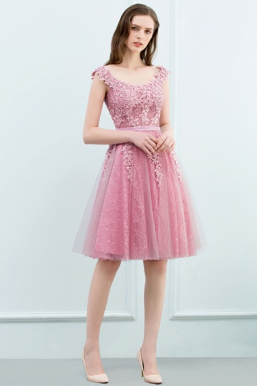 BMbridal Lovely Dusty Pink Short Homecoming Dress With Lace Appliques_11