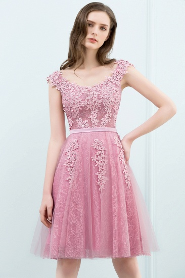 BMbridal Lovely Dusty Pink Short Homecoming Dress With Lace Appliques_12