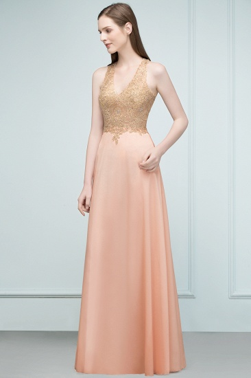 BMbridal A-line Floor Length V-neck Sleeveless Appliques Chiffon Prom Dress_5
