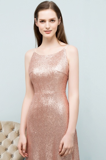 Affordable Pink Sequined Long Bridesmaid Dress With Scoop_5