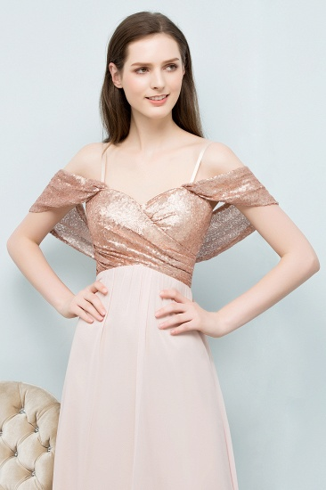 BMbridal A-line Sweetheart Off-shoulder Spaghetti Long Sequins Chiffon Prom Dress_9