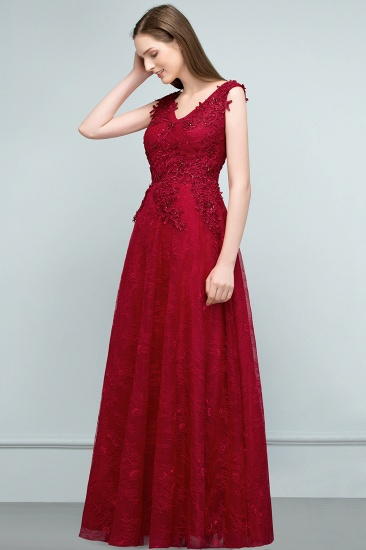Burgundy V-Neck Lace Prom Dress Long Evening Party Gowns With Appliques