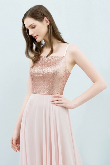 Sparkly Sequined Top Spaghetti Straps Affordable Bridesmaid Dresses Online_4