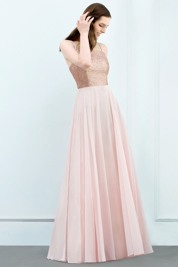 Sparkly Sequined Top Spaghetti Straps Affordable Bridesmaid Dresses Online_3