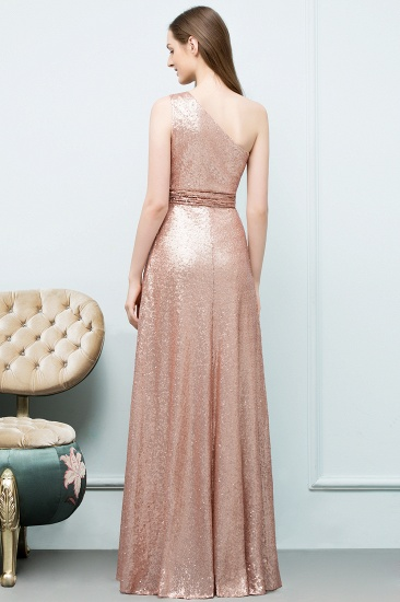 BMbridal Gorgeous Sequined One-shoulder Bridesmaid Dress with Ruffles_2