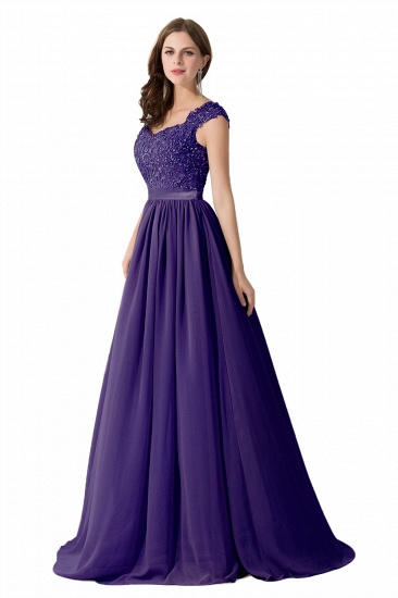 BMbridal A-line V Neck Chiffon Bridesmaid Dress with Appliques_4