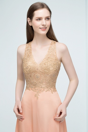 BMbridal A-line Floor Length V-neck Sleeveless Appliques Chiffon Prom Dress_8
