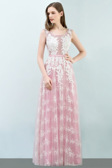 Elegant Pink Sleeveless Prom Dress Tulle Long Evening Gowns With Lace Appliques_5