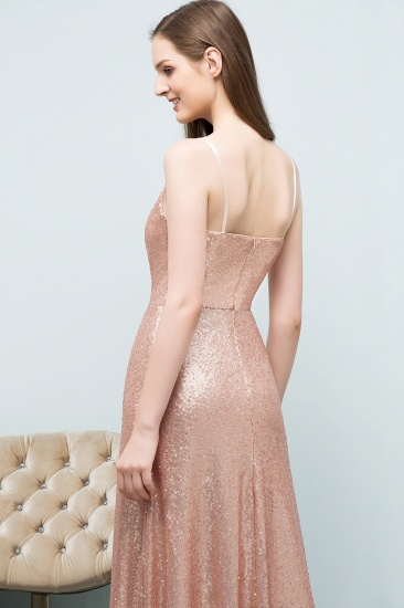 Chic V-Neck Spaghetti-Straps Sequined Long Bridesmaid Dresses Cheap_5