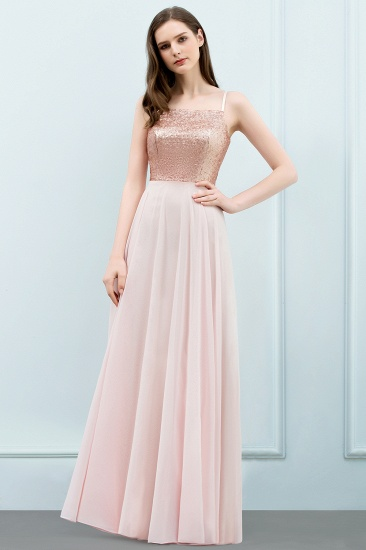 Sparkly Sequined Top Spaghetti Straps Affordable Bridesmaid Dresses Online_1