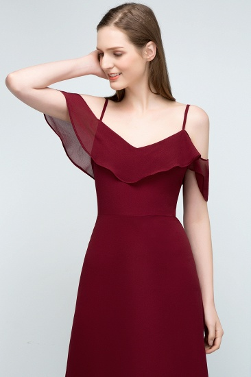 BMbridal Affordable A-line Chiffon Off-the-Shoulder V-neck Long Bridesmaid Dress In Stock_14