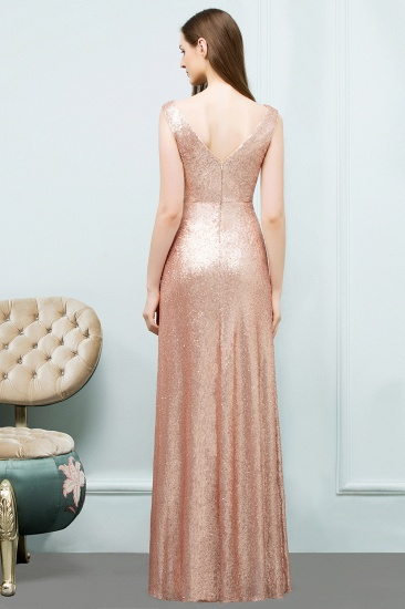 BMbridal Shiny Sequined Scoop Sleeveless Champagne Bridesmaid Dress Online_2
