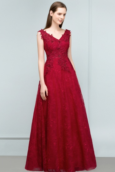 Burgundy V-Neck Lace Prom Dress Long Evening Party Gowns With Appliques_1