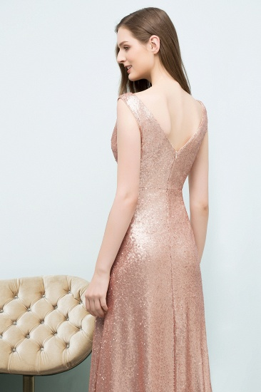 BMbridal Shiny Sequined Scoop Sleeveless Champagne Bridesmaid Dress Online_5