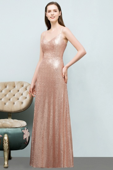 Chic V-Neck Spaghetti-Straps Sequined Long Bridesmaid Dresses Cheap_1