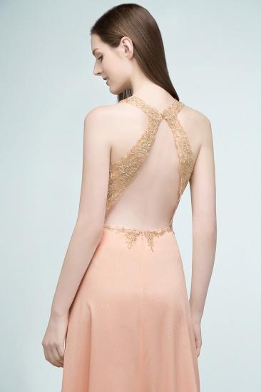 BMbridal A-line Floor Length V-neck Sleeveless Appliques Chiffon Prom Dress_9