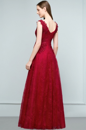 Burgundy V-Neck Lace Prom Dress Long Evening Party Gowns With Appliques_3