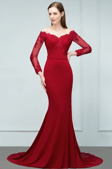 Glamorous Long Sleeve Mermaid Evening Prom Dress With Lace Appliques Online_5