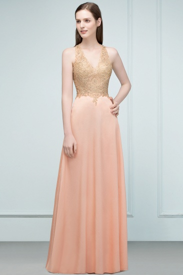 BMbridal A-line Floor Length V-neck Sleeveless Appliques Chiffon Prom Dress_6