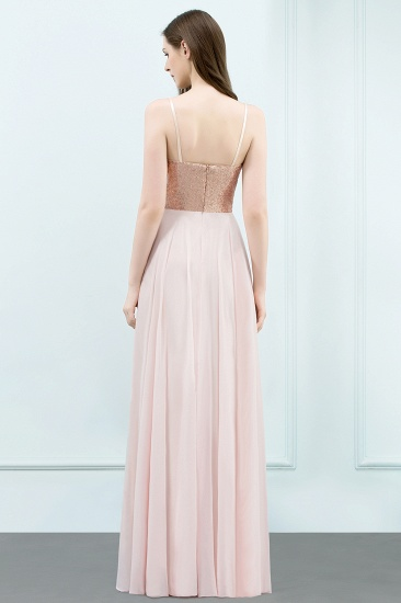 Sparkly Sequined Top Spaghetti Straps Affordable Bridesmaid Dresses Online_2