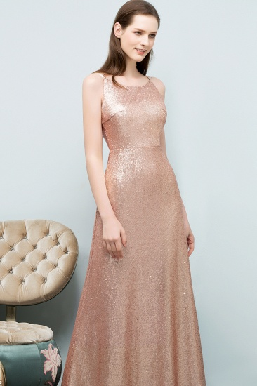 Affordable Pink Sequined Long Bridesmaid Dress With Scoop_3