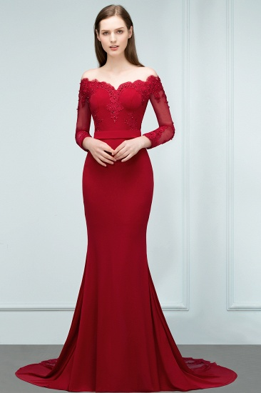 Glamorous Long Sleeve Mermaid Evening Prom Dress With Lace Appliques Online_6