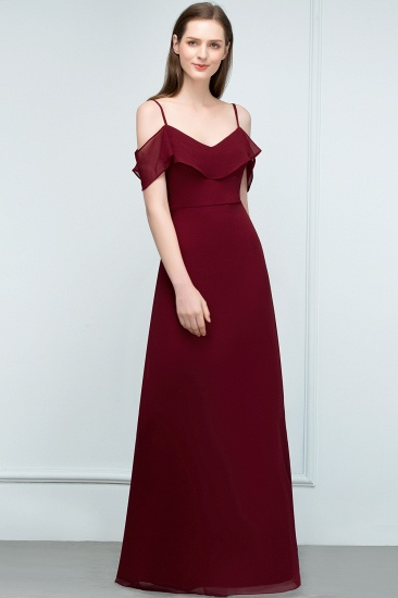 BMbridal Affordable A-line Chiffon Off-the-Shoulder V-neck Long Bridesmaid Dress In Stock_13