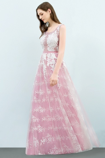 Elegant Pink Sleeveless Prom Dress Tulle Long Evening Gowns With Lace Appliques_4