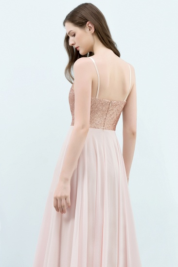Sparkly Sequined Top Spaghetti Straps Affordable Bridesmaid Dresses Online_5