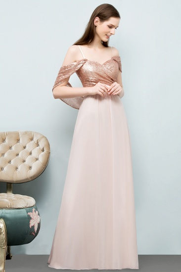 BMbridal A-line Sweetheart Off-shoulder Spaghetti Long Sequins Chiffon Prom Dress_8