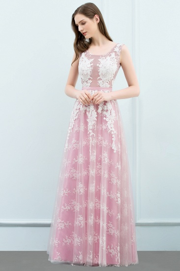 Elegant Pink Sleeveless Prom Dress Tulle Long Evening Gowns With Lace Appliques_6
