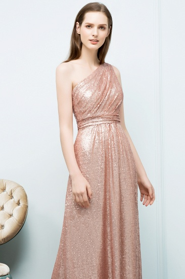 BMbridal Gorgeous Sequined One-shoulder Bridesmaid Dress with Ruffles_3