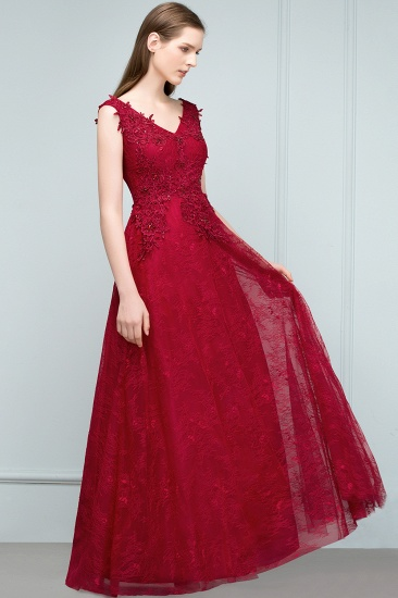 Burgundy V-Neck Lace Prom Dress Long Evening Party Gowns With Appliques_7