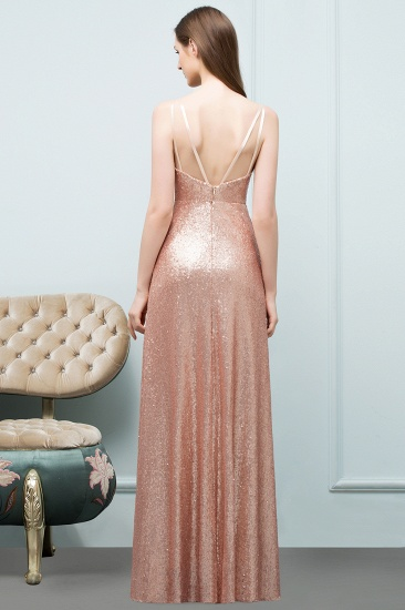 Affordable Pink Sequined Long Bridesmaid Dress With Scoop_2