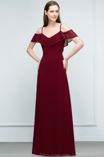 BMbridal Affordable A-line Chiffon Off-the-Shoulder V-neck Long Bridesmaid Dress In Stock_10
