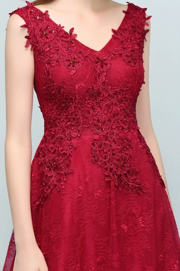 Burgundy V-Neck Lace Prom Dress Long Evening Party Gowns With Appliques_10