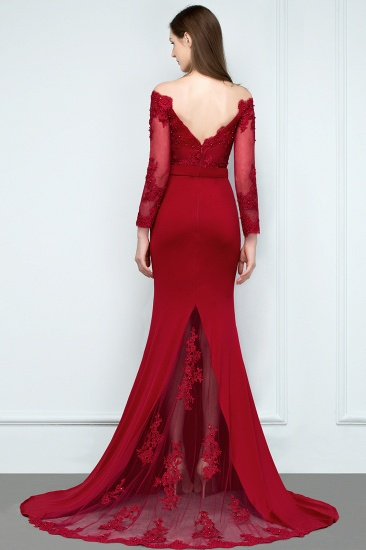 Glamorous Long Sleeve Mermaid Evening Prom Dress With Lace Appliques Online_3