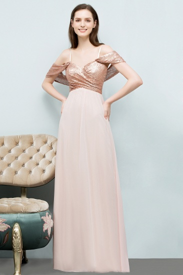 BMbridal A-line Sweetheart Off-shoulder Spaghetti Long Sequins Chiffon Prom Dress_5
